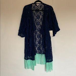 Lularoe Monroe blue and mint lace NWT